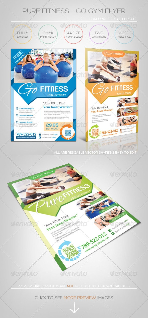 Pure Fitness - Go Gym - Flyer Template - Corporate Flyers
