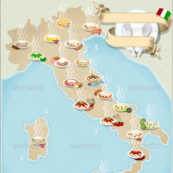 Map of Regional Pasta in Italy