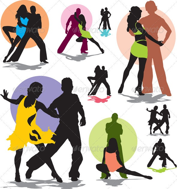 Set vector dance stars silhouettes - People Characters