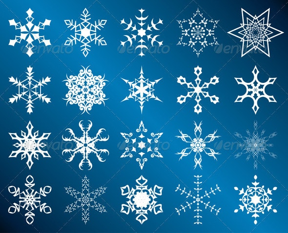 Vector white snowflakes - New Year Seasons/Holidays
