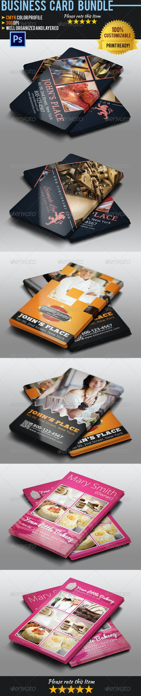 Restaurant Business Card Bundle - Industry Specific Business Cards