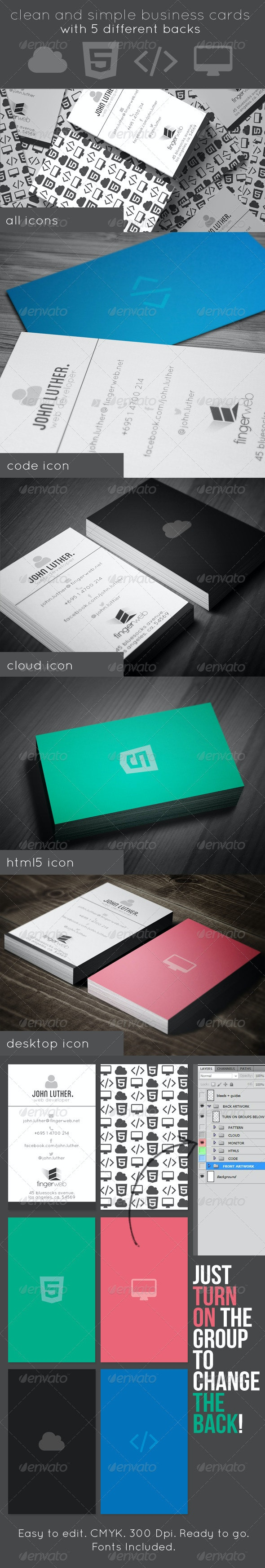 Icon Business Cards 5 Backs - Creative Business Cards