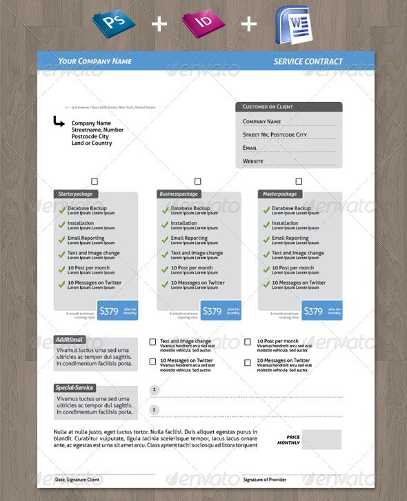 Clean Creative Service Contract for your Business - Resumes Stationery