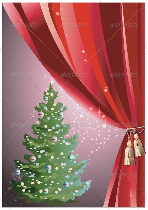 Christmas Tree with Red Curtain - Christmas Seasons/Holidays