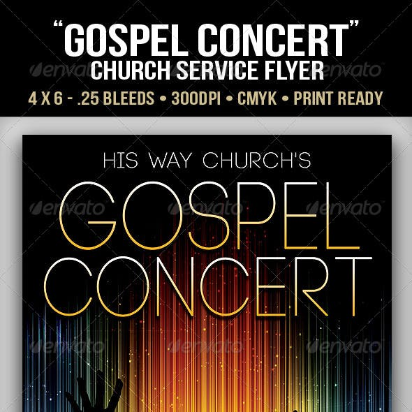 """Gospel Concert"" Lights Church Flyer"