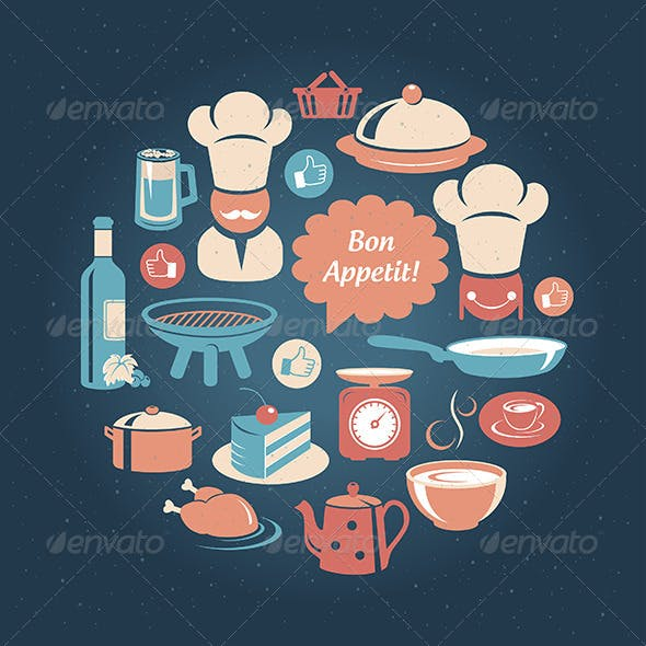 Round Card With Food And Cooking Icons