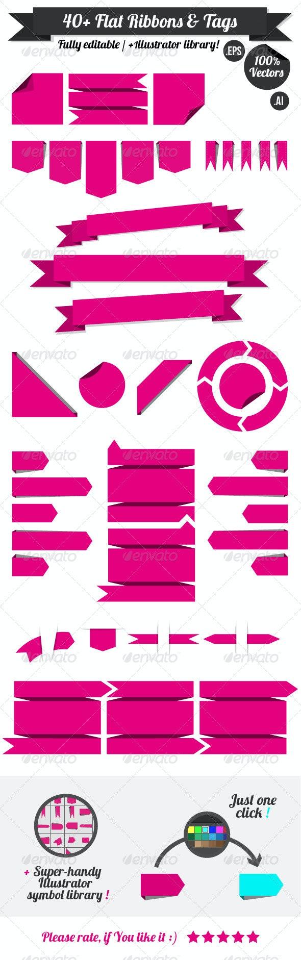 40+ Flat Vector Ribbons & Tags - Decorative Symbols Decorative