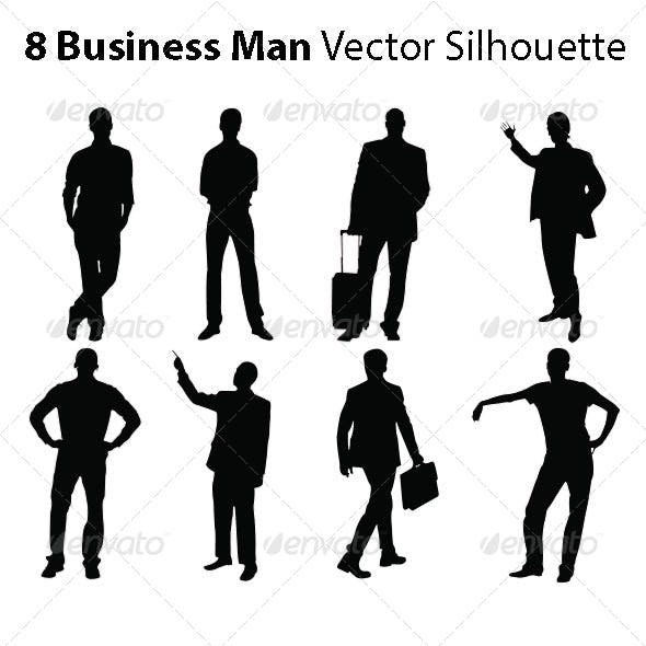 8 Business Man Vector Silhouette