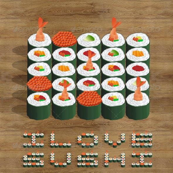 Sushi Icon Set and Abecedary