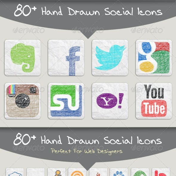 80+ Hand Drawn Social Icons