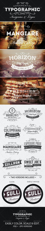 Ornamental Typographic Insignias | Logos - Badges & Stickers Web Elements