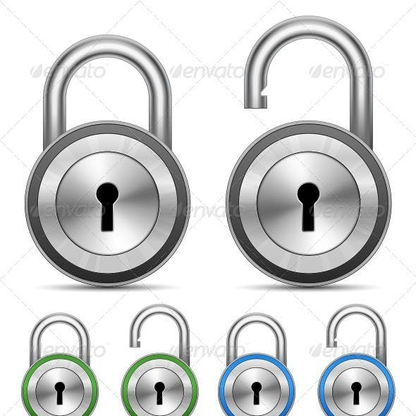 Metallic Padlocks. Security Concept