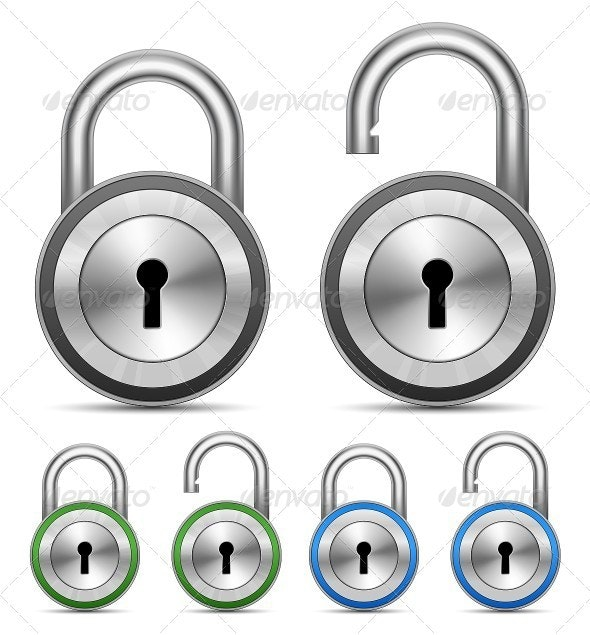 Metallic Padlocks. Security Concept - Man-made Objects Objects