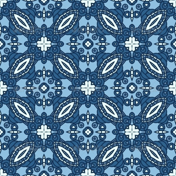 Seamless Blue Retro Pattern Background