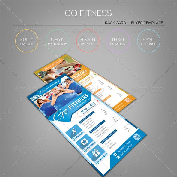 Pure Fitness - Go Gym - Rack Card Flyer Template