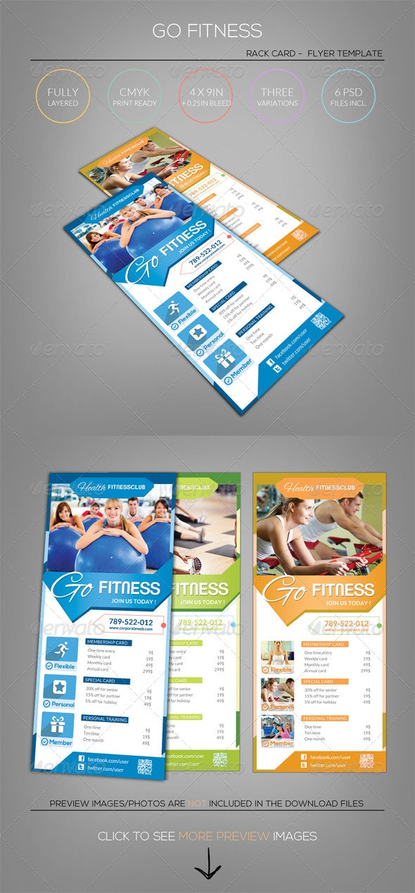 Pure Fitness - Go Gym - Rack Card Flyer Template - Commerce Flyers