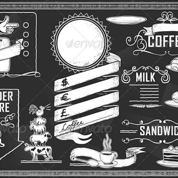 Vintage Graphic Element Set for Bar Menu