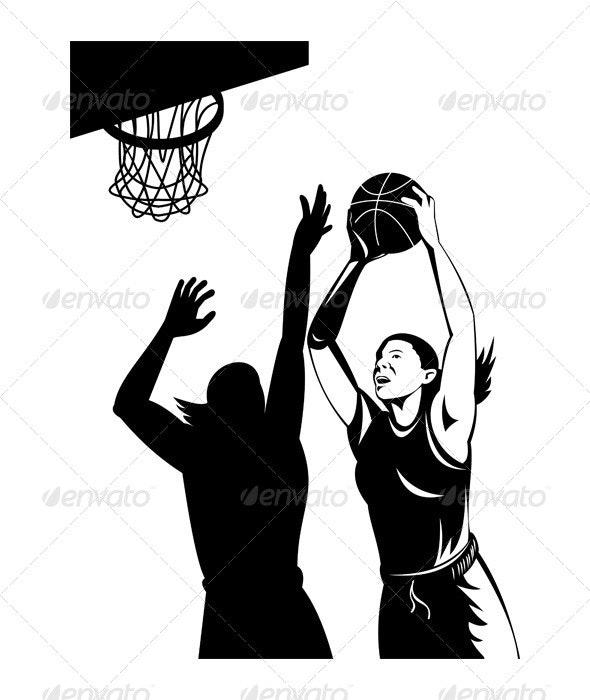Basketball Player Laying Up Ball
