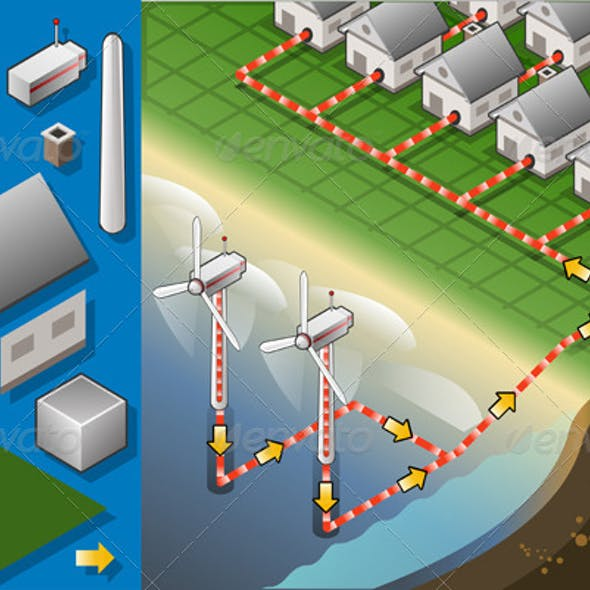 Isometric Houses with Offshore Wind Turbines