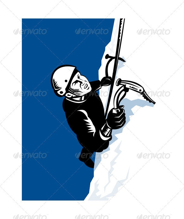 Male Mountain Climber with Pick Ax  - Sports/Activity Conceptual