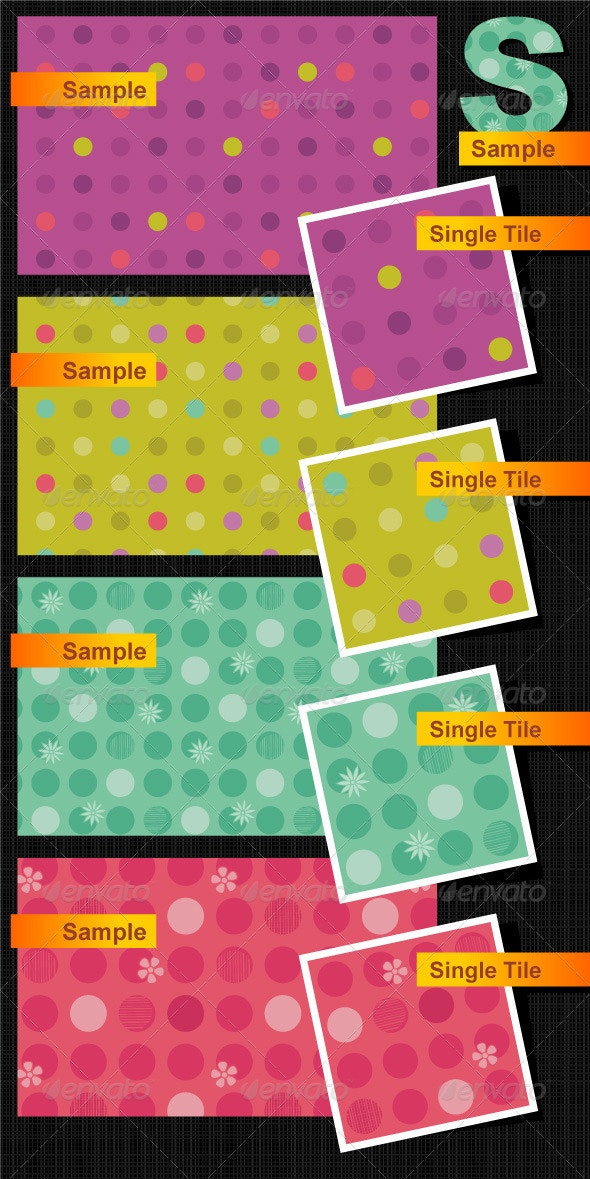 Seamless Polka-Dot and Floral Patterns - Patterns Decorative