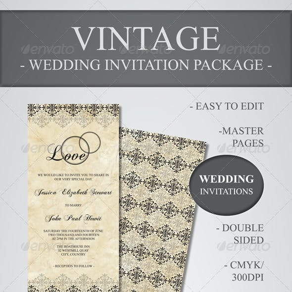 Vintage Wedding Invitation Package