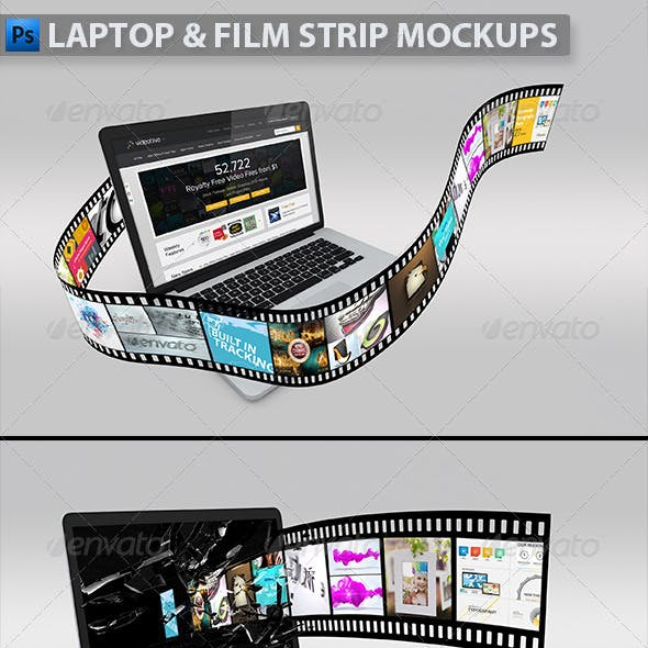 Laptop with Film Strip Mockup