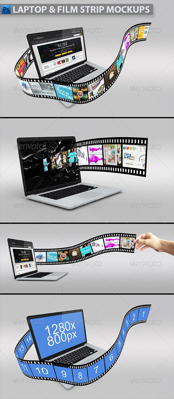 Laptop with Film Strip Mockup - Product Mock-Ups Graphics