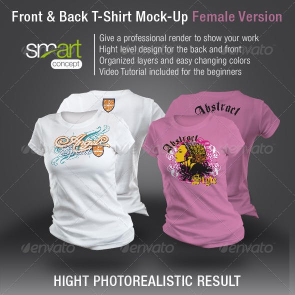 Front and Back T-Shirt Mock-Up Female Version
