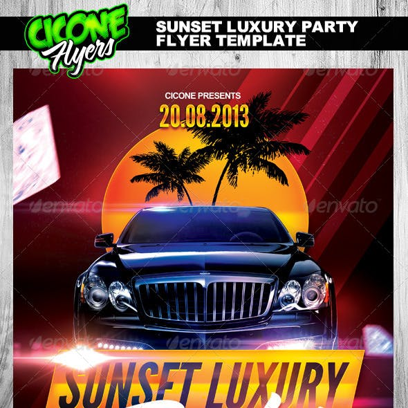 Sunset Luxury Party Flyer Template