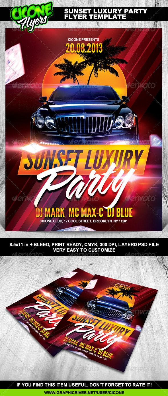Sunset Luxury Party Flyer Template - Clubs & Parties Events