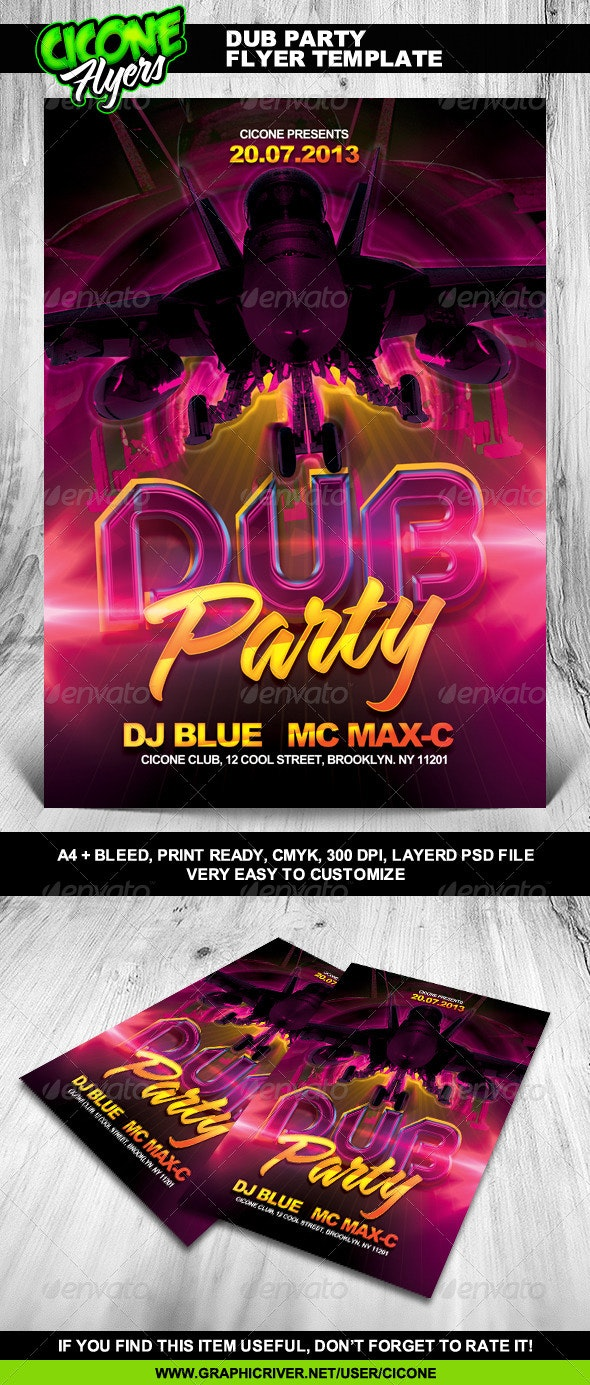 Dub Party Flyer Template - Clubs & Parties Events