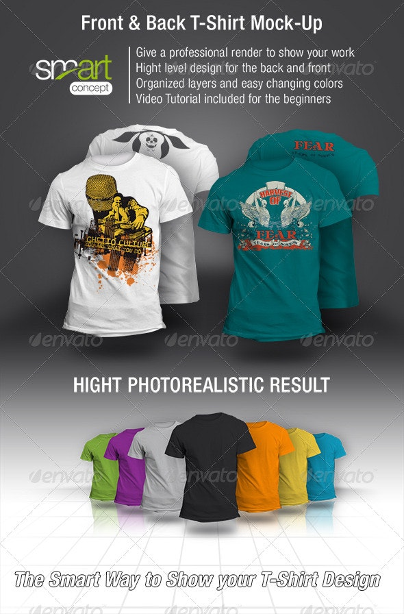 Front and Back T-Shirt Mock-up - T-shirts Apparel