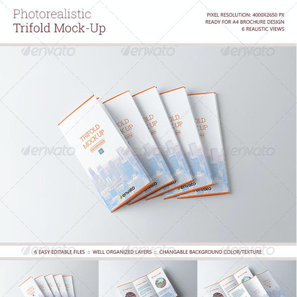 Photorealistic Trifold Mock-Up