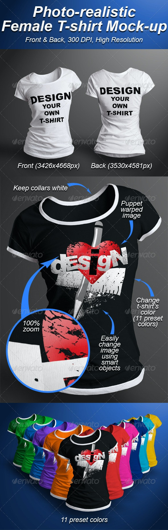 Female T-shirt Mock-up Photorealistic 3D Look - T-shirts Apparel
