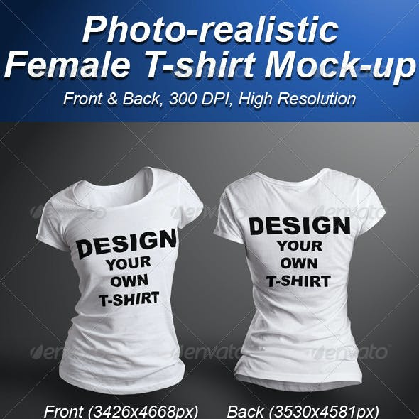 Female T-shirt Mock-up Photorealistic 3D Look