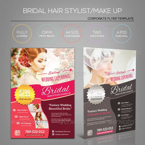 Wedding Bridal Hair Stylist/Make up Flyer Template