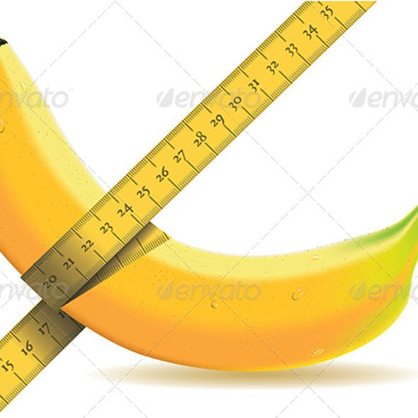 Banana Isolated on White with a Tape Measure