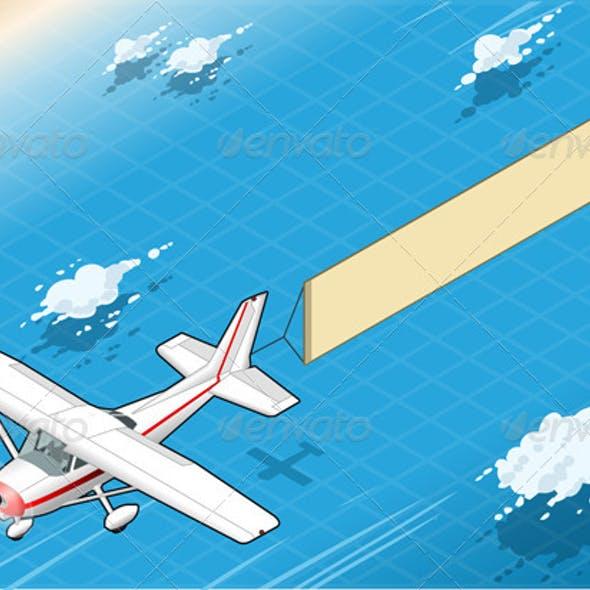 Isometric White Plane in Flight with Aerial Banner