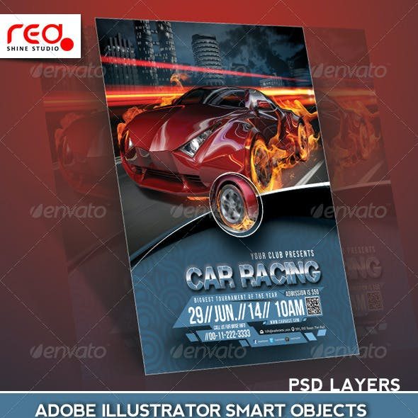 Car Racing Flyer Poster Magazine Template