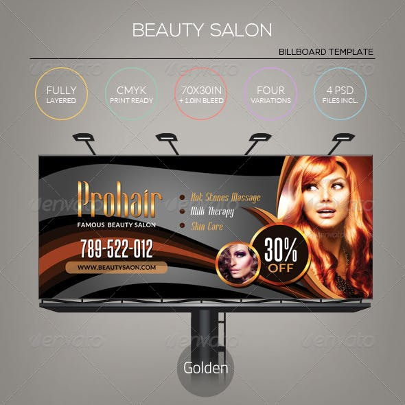 Golden Beauty Salon - Billboard Template