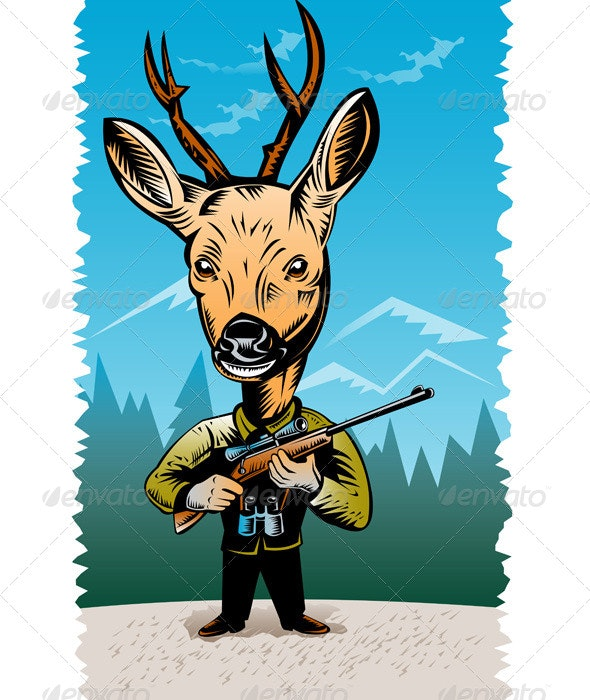 Deer with Hunting Rifle