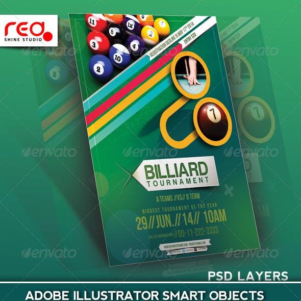 Billiard Tournament Flyer Poster Magazine Template