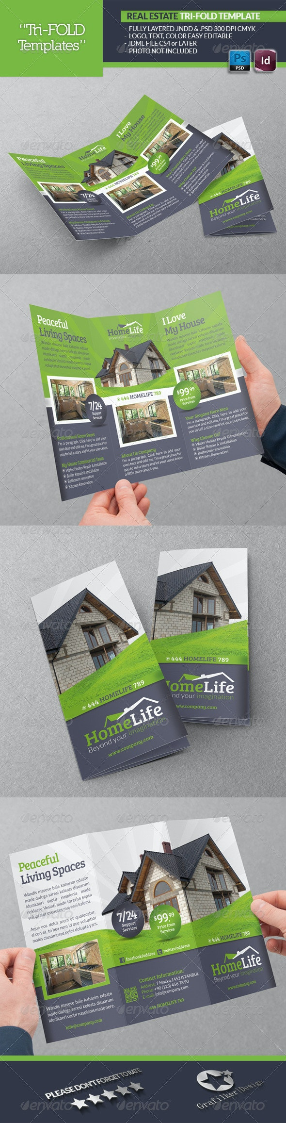 Real Estate Tri-Fold Template - Brochures Print Templates