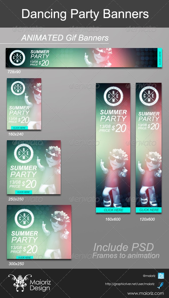 Dancing Animated Banners - Banners & Ads Web Elements