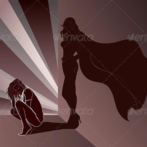 Sad woman crouched with Superhero's Shadow