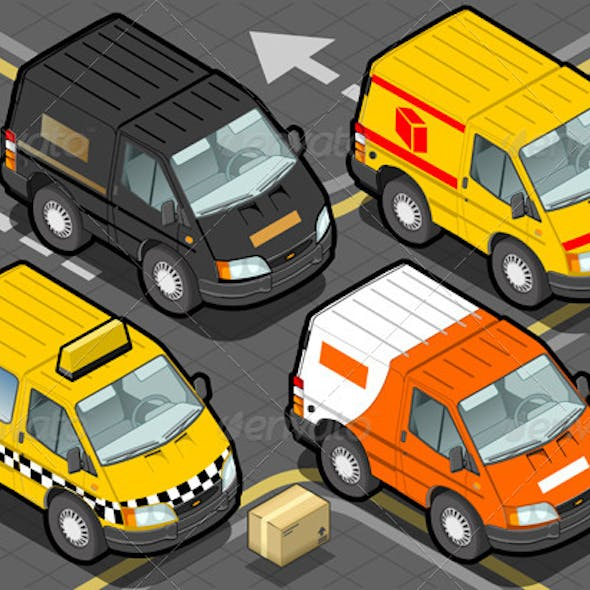 Download Isometric Delivery Truck and Taxi in Front View