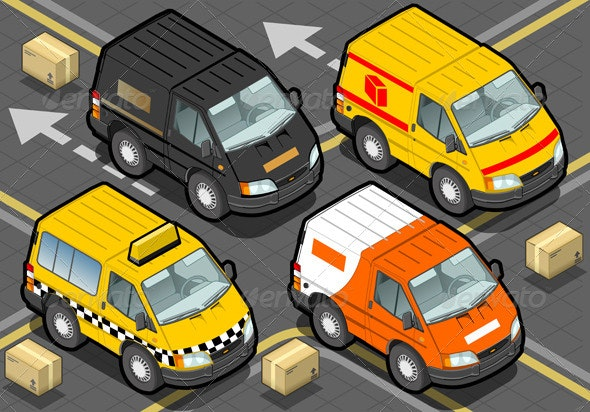 Isometric Delivery Truck and Taxi in Front View