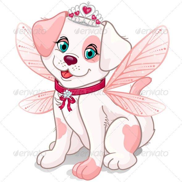 Pink dog sitting