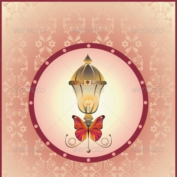 Background with Lantern and Butterfly